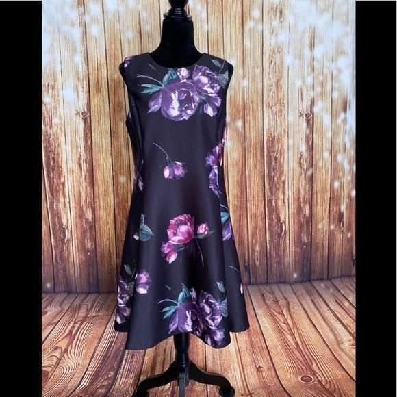 Dkny Dresses & Skirts - DKNY Women's Black/Purple Fit & Flare Dress Sz 12